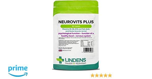 Lindens Neurovits Plus en comprimidos | 90 Paquete | Contiene vitaminas B1, B6, B12 y ácido fólico; contribuye al funcionamiento normal psicológico y a ...