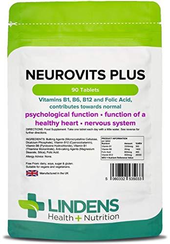 Lindens Neurovits Plus en comprimidos | 90 Paquete | Contiene vitaminas B1, B6, B12