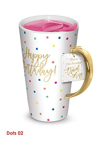 Lady Jayne 13oz Spill Proof Ceramic Coffee Travel Mug with Lid Series Pink Gold with Lid… (Happy Birthday) ()