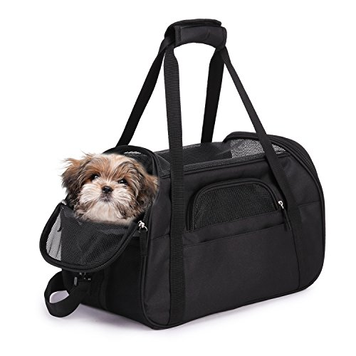 "(Jespet Soft Sided Pet Carrier Comfort 17"" for Airline Travel, Portable Dog Tote Bag for Small Animals, Cats, Kitten, Puppy, Black)"