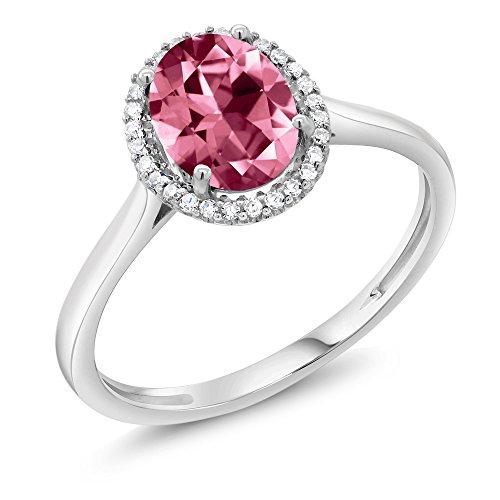 - 10K White Gold Diamond Halo Engagement Ring Set with Oval Pink Topaz from Swarovski (Size 7)