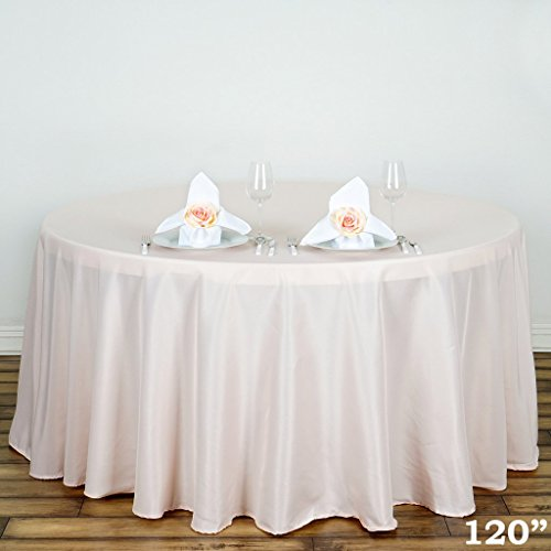 "Efavormart 120"" BLUSH Wholesale Polyester Round Tablecloth For Wedding Banquet Restaurant"