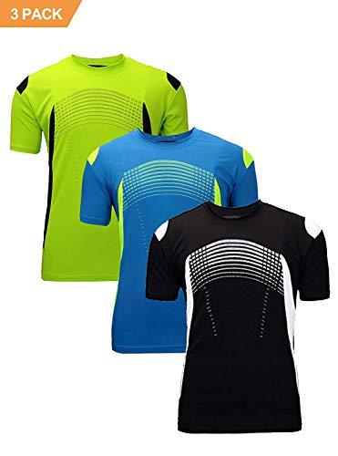 Men's Running Tshirt Dry Fit Mesh Athletic Shirts 3 Pack Green Blue Black L