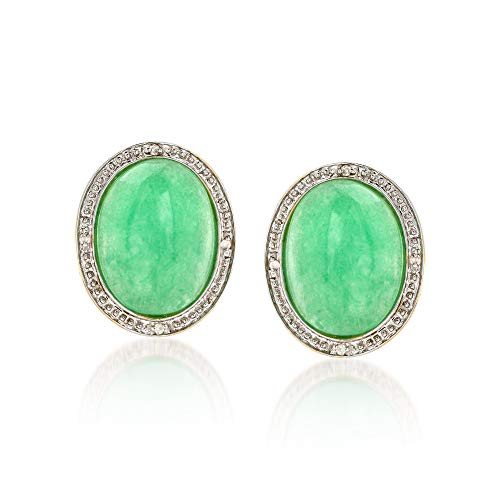 Oval Green Jade 14kt Earrings - Ross-Simons Green Jade Earrings With Diamond Accents in 14kt Yellow Gold