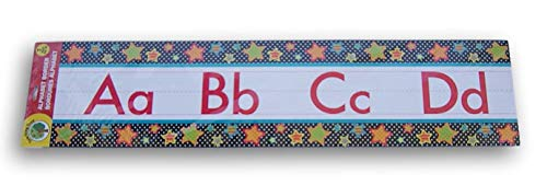 Teaching Tree Classroom Decor Alphabet Wall Border - 7 Piece (Stars on Black/White Polka Dot)