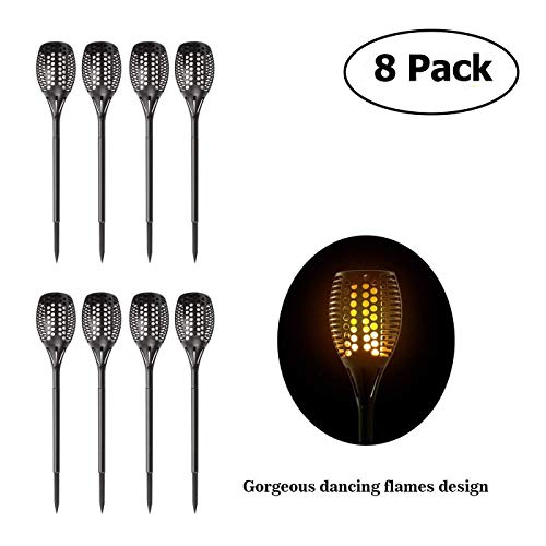 Kshioe Solar Tiki Light By, 96LED Waterproof Flickering Flames Torches Lights Outdoor Landscape Decoration Lighting Dusk to Dawn Auto On/Off Security Path Light for Garden Patio Deck Yard (8 PACK)]()