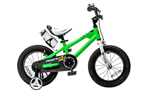 Royalbaby RB14B-6G BMX Freestyle Kids Bike, Boy's Bikes and Girl's Bikes with training wheels, Gifts for children, 14 inch wheels, Green