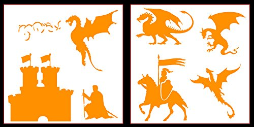 Auto Vynamics - STICKERPACK-DRAGONSET01-10-GORG - Gloss Orange Vinyl Detailed Castle & Dragons Sticker Pack - Includes Dragons, Knights, A Castle, & More! - 10-by-10-inch Sheets - (2) Piece Kit - Themed Set