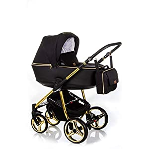 Baby Pram Pushchair Buggy Car Seat Adamex Reggio Special (Y-85 Schwarz-Gold, 3in1)