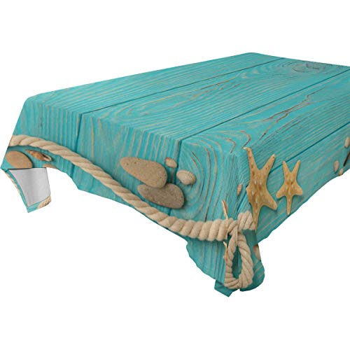 (Border With Rope Stones Sea Shells And Starfish Turquoise Wooden Tablecloth Rectangular Table Cover for Dining Room Kitchen Party Picnic Wedding Restaurant Christmas Tablecovers Spread 54x54 inch)
