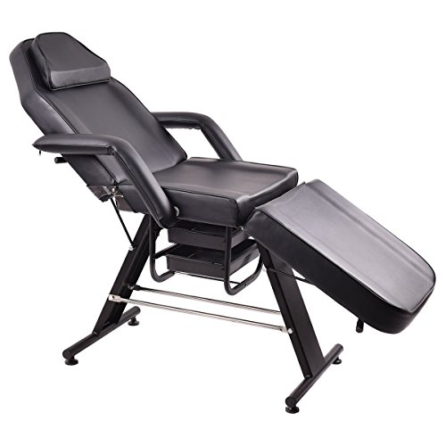 Giantex Adjustable Salon SPA Black Massage Bed Tattoo Chair Facial Table Beauty Basket