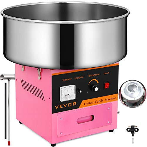 VEVOR Candy Floss Maker 20.5 Inch Commercial Cotton Candy Machine Stainless Steel for Various Parties (Best Cotton Candy Machine)