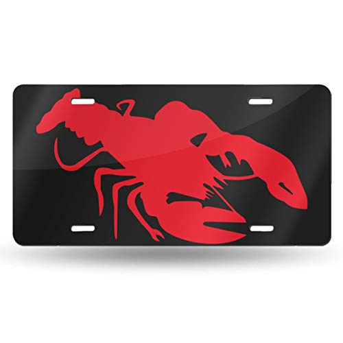 (FISHISOK License Plates Crayfish Lobster Graphic Waterproof Metal Auto Tag Signs for Car Decoration 6 X 12)