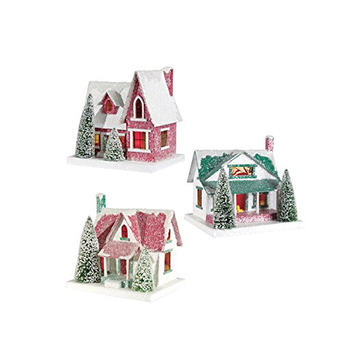Vintage Style Cardboard Light Up Christmas Snow Glitter House Figures , Assorted of 3 by GII