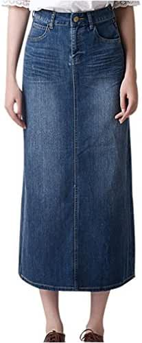 Gordon Q Women's Casual Plus Size High Waist Denim Skirt