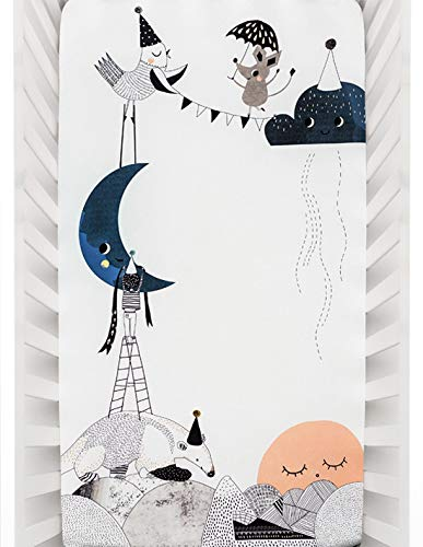 Rookie Humans 100% Organic Cotton Sateen Fitted Crib Sheet: The Moon's Birthday. Modern Nursery, Use as a Photo Background for Your Baby Pictures. Standard Crib Size (52 x 28 inches)