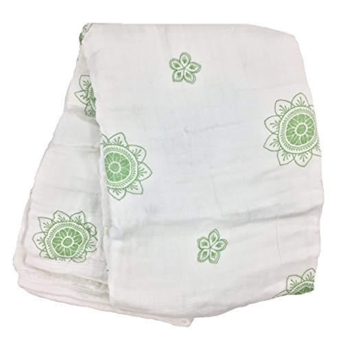 Bambino Land Zen Flower Green Double Layer Muslin Swaddling Blanket, Made from Organic Cotton