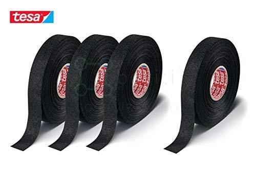 Boxiti set of 4 pcs Tesa 51608 Black Fuzzy Fleece Interior Wire Loom Harness Tape 19 mm X 15 Meters