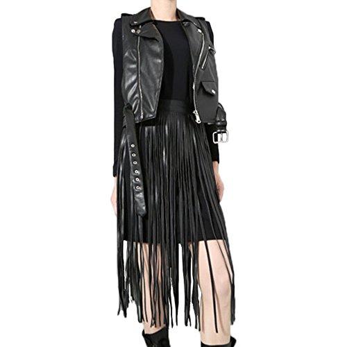 FR Ladies Hippie Boho Fringe Tassel Black Faux Leather PU Long Belt (Ladies Fringe)