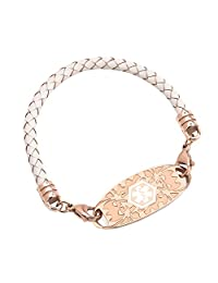 (Free Engraving) Women Rose Gold Medical Alert ID Tags with Leather Braided Bracelets 6-8 inches