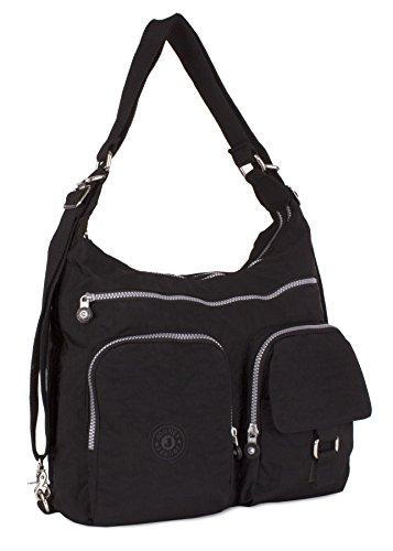 Big Handbag Shop Rainproof Fabric Zip Pockets Convertible Backpack Cross Body Messenger Shoulder Bag Black