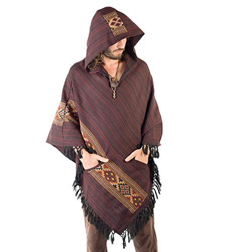 AJJAYA Mens Handmade Poncho Red Crimson Yak Wool with Large Hood Primitive Gypsy Festival Mexican Tribal Embroidered