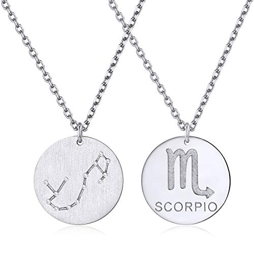 (Constellation Necklace Pendant 925 Sterling Silver Round Disc Astrology Horoscope Zodiac Sign Pendant - Scorpio)