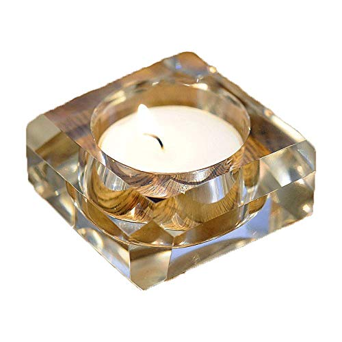 Square Creative Simple Nordic Crystal Candlestick Golden Glass Scented Candle Holder Pillar Taper Home Wedding Party Dinner Fireplace Candlelight Dining Room Decor Centerpiece Gift Friend Family