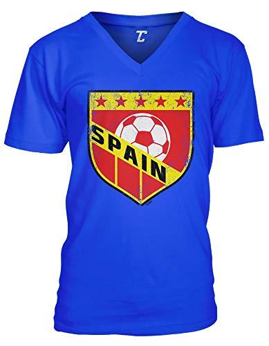 (Spain Crest - Soccer Futbol Sports Unisex V-Neck T-Shirt (Royal, Small))