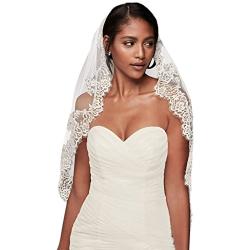 Eyelash Lace Fingertip Veil Style V2010, White by David's Bridal
