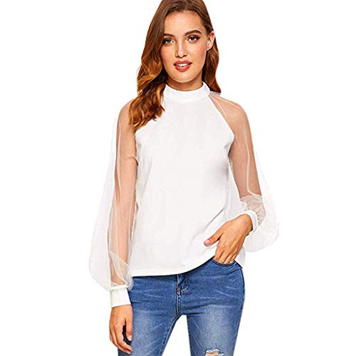 Women's Elegant Mesh Sheer Long Sleeve Puff Solid Loose Summer Casual Blouse Top White