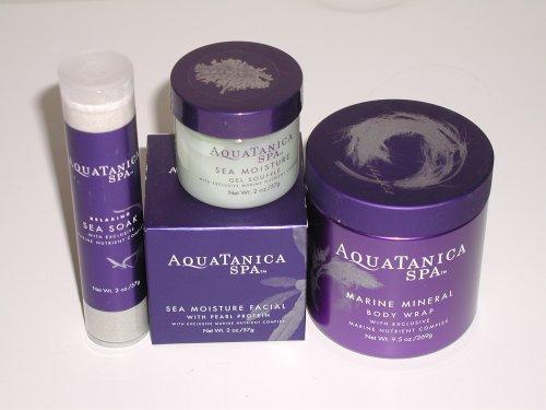 Bath & Body Works Aquatanica Spa Gift Set of 4 Products - Marine Mineral Body Wrap, Sea Moisture Gel Souffle, Relaxing Sea Soak and Sea Moisture Facial with Pearl Protein (Aquatanica Spa)