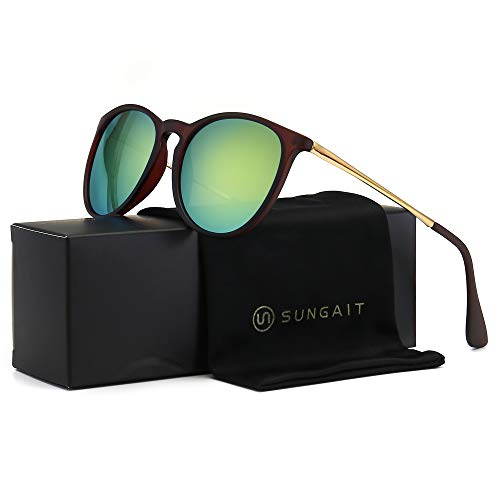 SUNGAIT Vintage Round Sunglasses for Women Classic Retro Designer Style (Brown Frame(Matte Finish)/Yellow-Green Lens) 1567 CKHL (Best Polarized Sunglasses 2019)