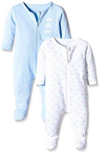 NAME IT Baby-Jungen Schlafstrampler NITNIGHTSUIT ZIP W/F NB B NOOS, 2er Pack, Gr. 62, Mehrfarbig (Cashmere Blue)