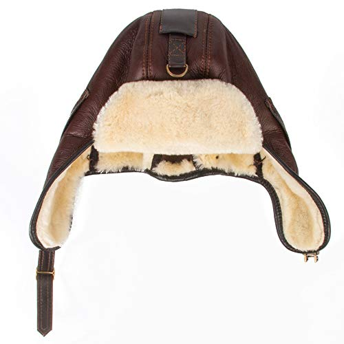 Men s Sheepskin Leather Bomber Hat Winter Trapper Hunting Hat Ushanka  Aviator Russian Hats Brown 8cd44792bd54