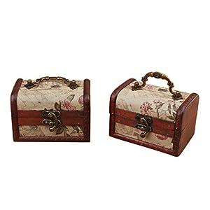 Coolrunner Handmade Retro European wooden box Vintage Wooden Treasure Case Decorative Trinket Jewelry Storage Box Old…