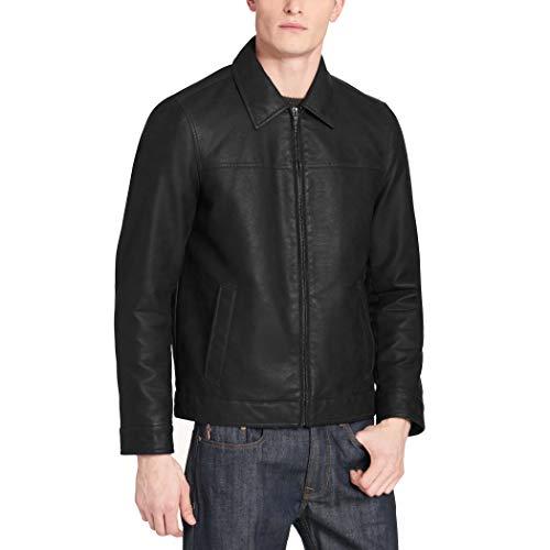 Dockers Men's James Classic Faux Leather Laydown Collar Open Bottom Jacket, Black, XL