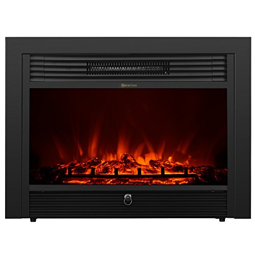 KUPPET YA-300 28.5″ Embedded Electric Insert Freestanding Heater Fireplace w/Remote Glass View Log Flame, 750W(Low Heat)/1500W(High Heat), Black
