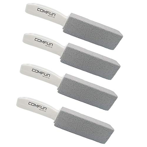 Comfun Toilet Bowl Pumice Cleaning Stone with Handle Stains and Hard Water Ring Remover Rust Grill Griddle Cleaner for Kitchen/Bath/Pool/Spa/Household Cleaning 4 Pack ()