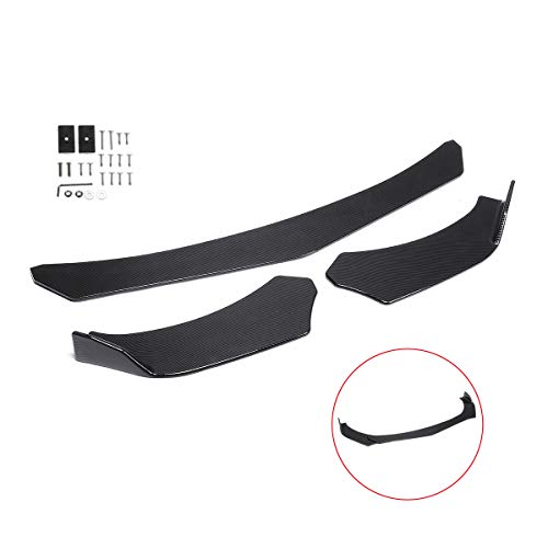 Zeeos Carbon Fiber Look Universal Front Bumper Lip Chin Spoiler ABS Front Bumper Lip Sopiler Wing Body Fits For AUDI,Ford,BMW,HONDA,Chevrolet,Toyota,civic,Car ()