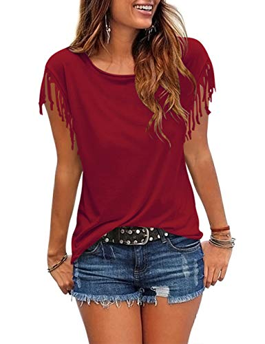 Womens Tassel Short Sleeve Round Neck T-Shirt Top Casual Summer Tee (A4-Burgundy2, XX-Large) (Stretch Knit Blouse)