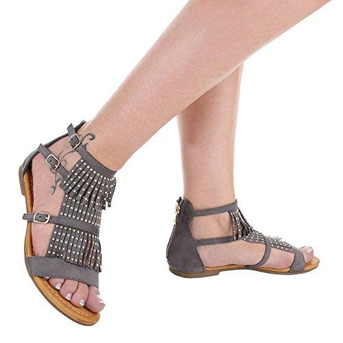 Ital-Design - Sandalias Romanas Mujer gris