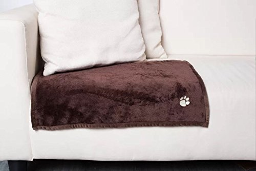 Embroidered Paw Prints Fleece Blankets, Micro Fur Soft Anti-Pilling Blanket for Kitties Puppies and Other Small Animals Dogs Cats Bed Blanket - Pet Flannel Soft Throw (41x31 Inches) by Inter Tech (Image #1)