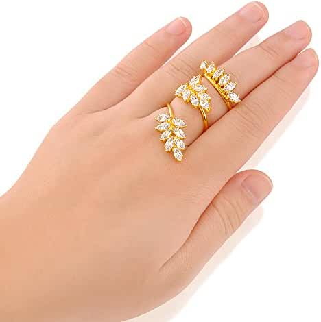 Mytys Yellow Gold Plated Marquise Zirconia Cluster Spiral Adjustable Finger Rings