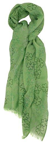 St Patrick's Day Shamrock Green & White Irish Fashion Scarf Shamrock Green 2