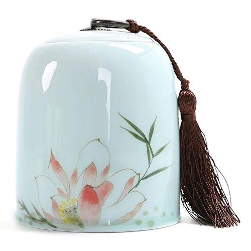 HJM Pet Urns - Celadon Hand Painted Copper Buckle Tassel Sealed Against Moisture Hand Made Pet Coffin Commemorating The Death Of Dogs, Cats And Other Small Animals Suitable For Storing The Ashes Of Al - Hand Painted Tassel
