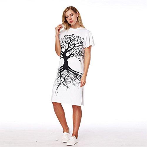 Impresión XINGMU Vestido Cuello Mujeres Oso Corto Árbol Vestido O Negro De De Blanco Split T77xZrd