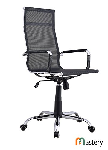 Mastery Mart Eames Office Chair Aired-Mesh Fabric Tilt Adjustable Chair with Padded Armrests for Management, Conference, Home Office, and Executives (Black, High-Back)