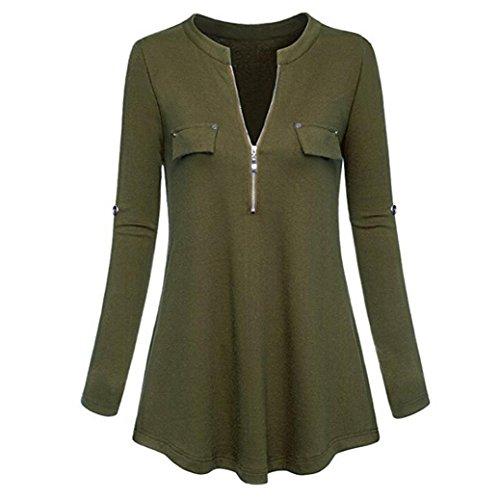 Womens Zipper Front Blouse,Realdo Casual Fashion V Neck Shirt Tops Roll-up Long and Three Quarter Sleeve(Army Green,Medium)