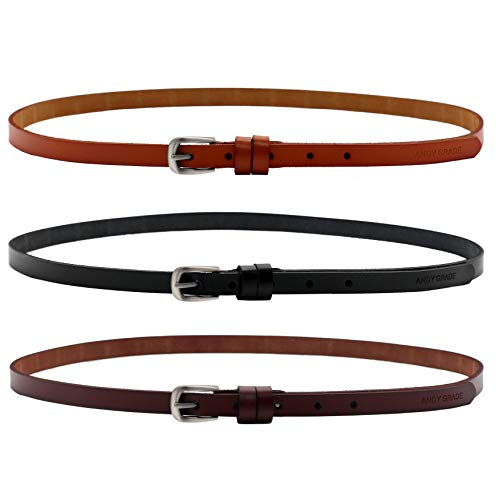 ANDY GRADE Set of 3 Women's Genuine Cowhide Leather Stylish Thin Dress Belt Fashion Vintage Casual Skinny Belts for Jeans Shorts Pants Summer for Women with Alloy Pin Buckle (Style A)